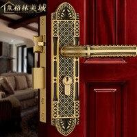 Полный медь замок двери Европейский стиль закрытый меди дверной замок Американский спальня ручка черный бронзовый