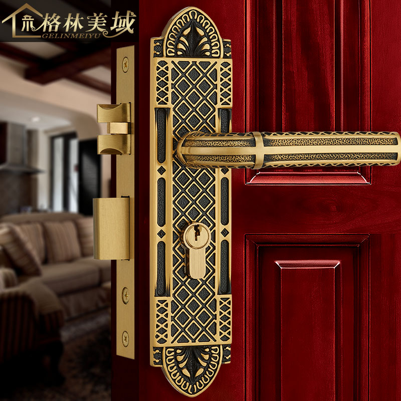 Full copper door lock European style indoor copper door lock American bedroom handle black bronze ceramic lock the door when indoor european ball lock hold hand lock copper core s 016