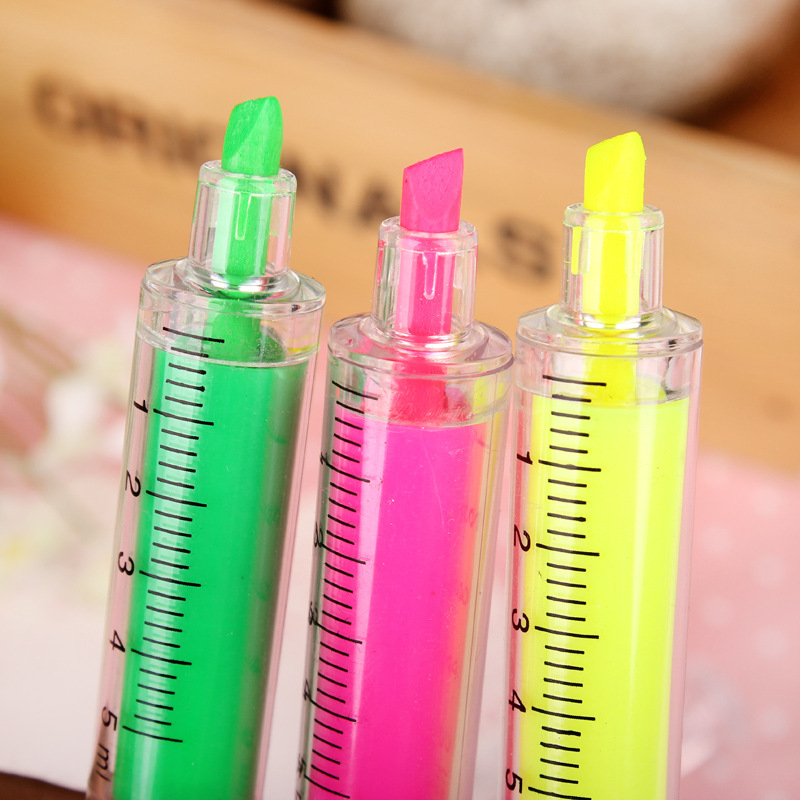 6pcs / set Witness syringe highlighter cartoon cute Korean creative stationery gifts wholesale syringe highlighter