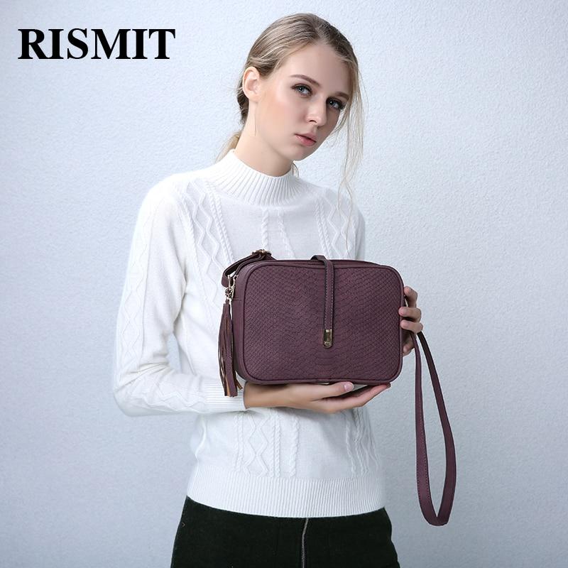 RISMIT 2018 Brand Casual Shoulder Bags Women Small Messenger Bags Ladies Retro Design Handbag With Tassel Female Crossbody Bag