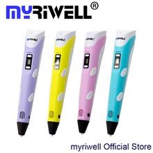 3D ручка Myriwell 2-го Поколения СВЕТОДИОДНЫЙ Дисплей DIY 3D Принтер Пера с 20 Цвет 100 М ABS Накаливания Искусство 3d ручки Для Детей Рисунок инструменты