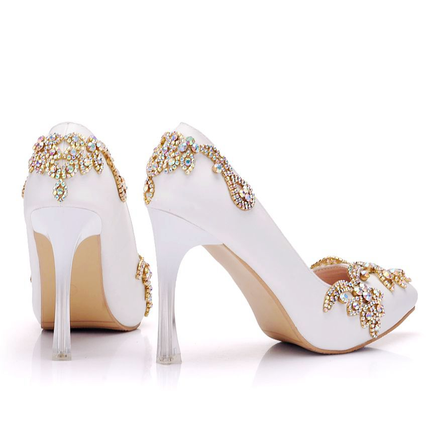 Crystal Queen Invisible Platform Pointed Toe pumps Rhinestone Heels Women  Thin High Heels Pointed Toe Shoes Wedding Party Heels-in Women s Pumps from  Shoes ... bcd2361cdc8c