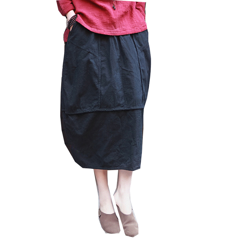 Linen skirt New Vintage and Retro Ethnic Elegant Skirts Solid Long Red Black Skirt Bud Hem Cotton Women Patchwork Saia Femme