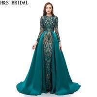 Вечернее платье с длинными рукавами, вечернее платье русалки, зеленые платья на выпускной, 2019 мусульманский, арабский, вечернее платье со съ