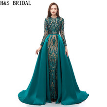 Long Sleeve Evening Dress Mermaid Evening Dresses Sequins Green Prom D