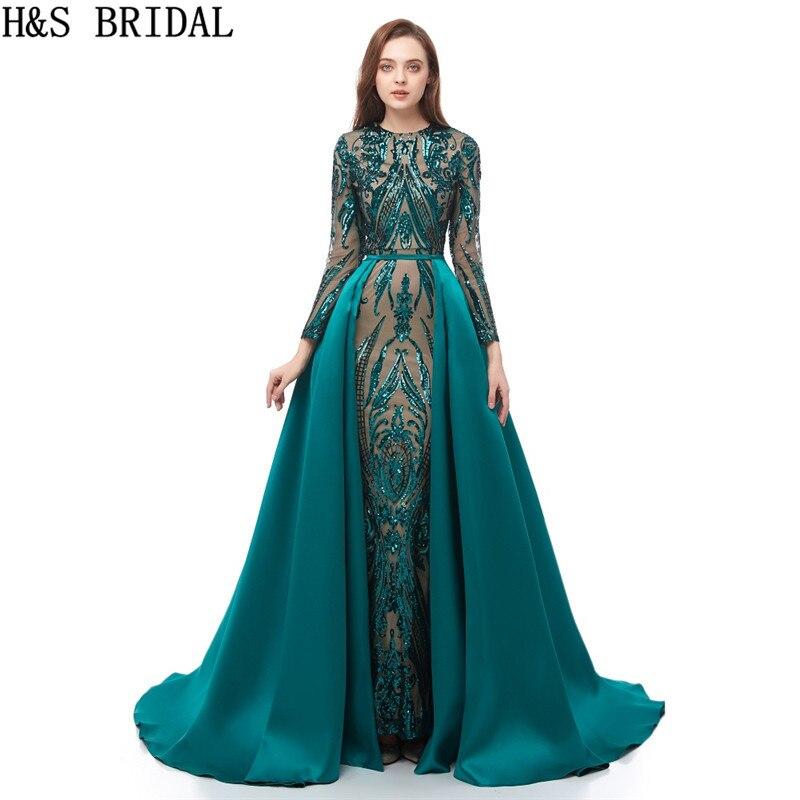 Long Sleeve   Evening     Dress   Mermaid   Evening     Dresses   Sequins Green Prom   Dresses   2019 muslim arabic   evening     dress   Detachable Train