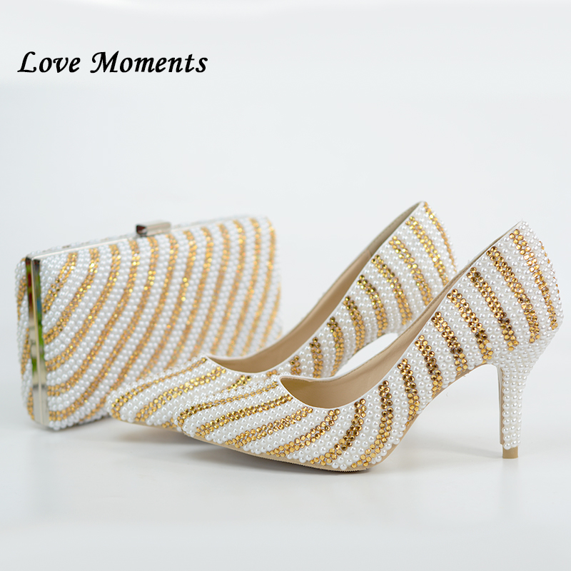 Love Moments White Beads Golden Crystal Summer fashion shoes Woman Pointed Toe Wedding shoes and bags new Ladies Party shoes dzulhelmi nasir behavioural ecology of the sunda colugo