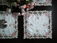 Gorgeous rose series Rural cloth art Chinese embroidery Square table mat 40*40cm The table cloth Eat mat Table mat Tray cloth