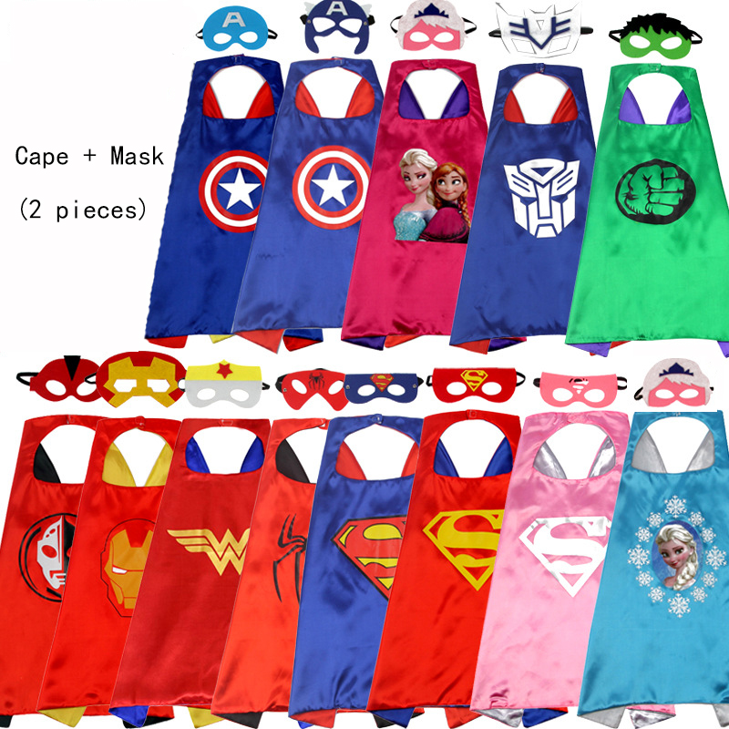 Superhero Cape+Mask Suit Birthday Gift Superman Spiderman Super Hero Costume For Children Halloween Party Costumes For Kids