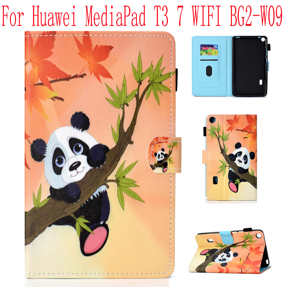 For For Huawei MediaPad T3 7 Inch Smart Case WIFI Version Soft TPU+ Leather Stand Flip Case Cartoon Prints Kids