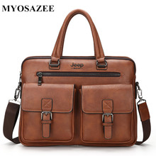 hot deal buy myosazee 2018 new men split leather handbag zipper men business polyester two silt pocket soft handle 14 inches briefcases bags