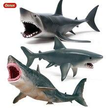 Oenux 3 pçs oceano selvagem megalodon marinho grande tubarão lamnidae figuras de ação vida marinha animais gigante tubarão modelo brinquedos presente para crianças