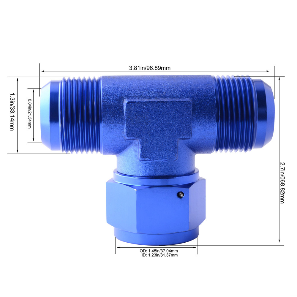 Blue Aluminum 6AN Male Flare Tee Fitting With AN6 Female Swivel On Side Adaptor 6AN