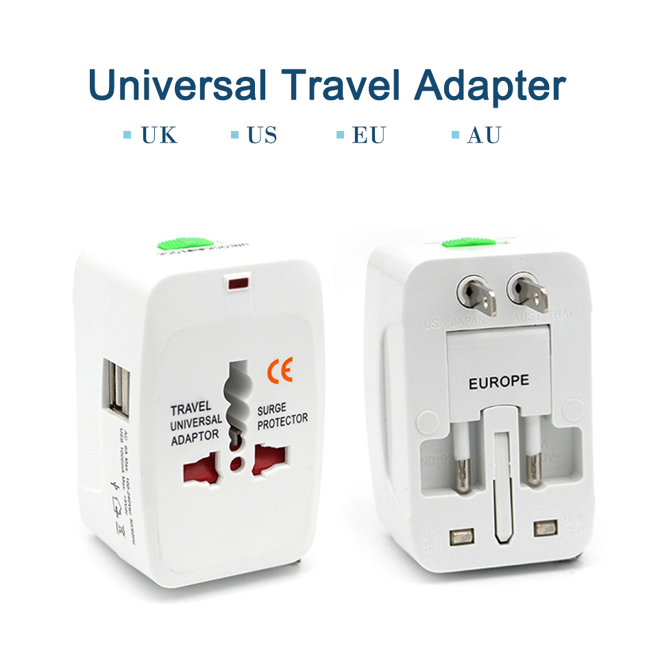 Universal Worldwide Adapter Electric Socket AU UK US EU Plug Adaptor Travel Wall Charger AC Power Option 2 USB Charging Port (1)