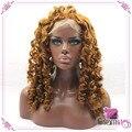 Дешевая Клубника Блондинка Вьющиеся Синтетические Парики Фронта Шнурка Теплоизоляционный Парики с Волосами Младенца для Афро Чернокожих Женщин