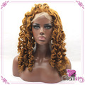 Cheap Strawberry Blonde Curly Synthetic Lace Front Wigs Heat Resistant Wigs with Baby Hair for Afro Black Women