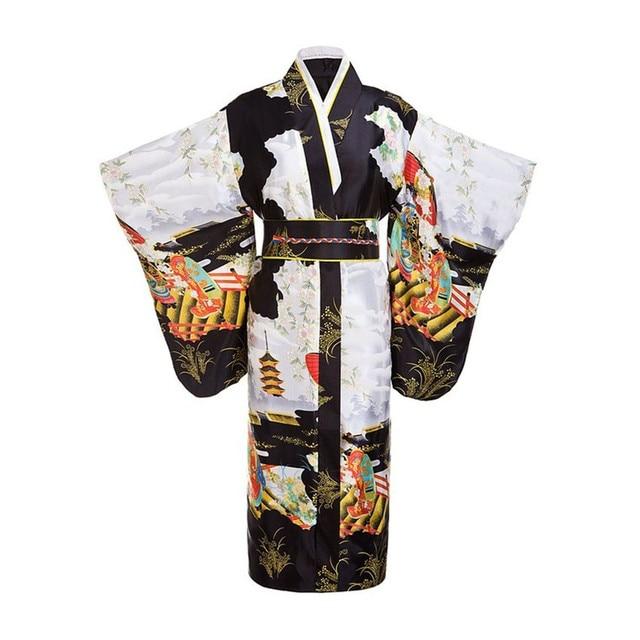 Черная женщина леди японской традиции юката кимоно с оби цветок старинные вечернее платье косплей костюм одного размера ZW01
