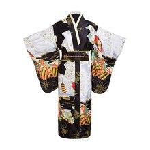 Черные женские японской традиции кимоно юката с Оби цветок Винтаж вечернее платье Косплэй костюм один размер ZW01