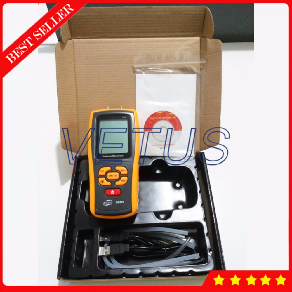цена на GM510 USB Handheld Digital Manometer Portable Differential Pressure Gauge with LCD Display