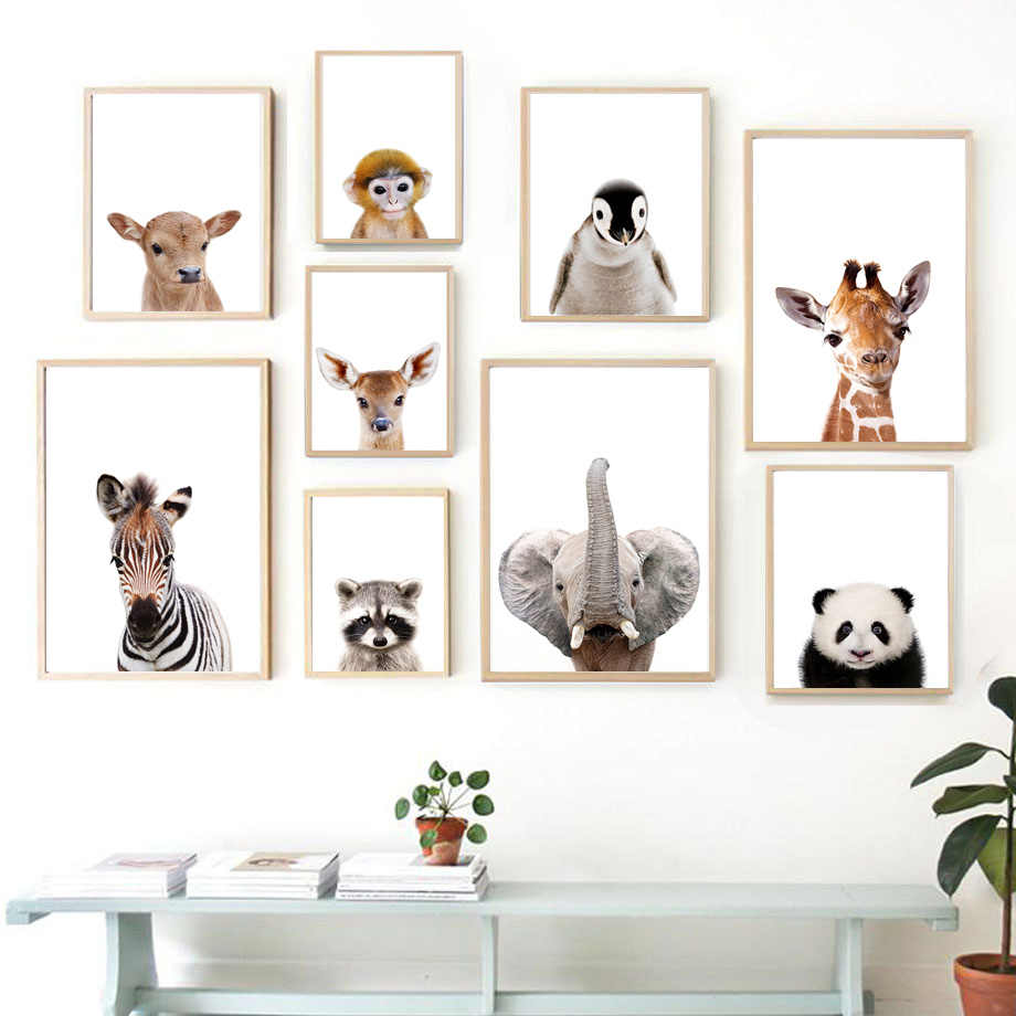 Nordic Posters And Prints Elephant Pictures Zebra Giraffe Panda Koala Animals Wall Artwork Canvas Painting Baby Kids Room Decor