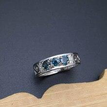 Promoción anillo de estilo para hombre natural 3mm corte redondo zafiro 925 anillo de plata esterlina sólida hombre de la manera de plata de zafiro anillo