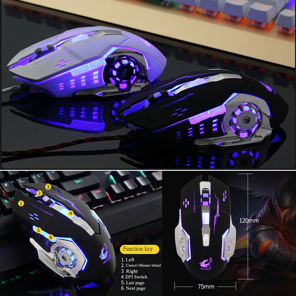 4000DPI Wired LED Light 6 Buttons Laptop Optical Metal Plate V5 USB Gaming Mouse Mice