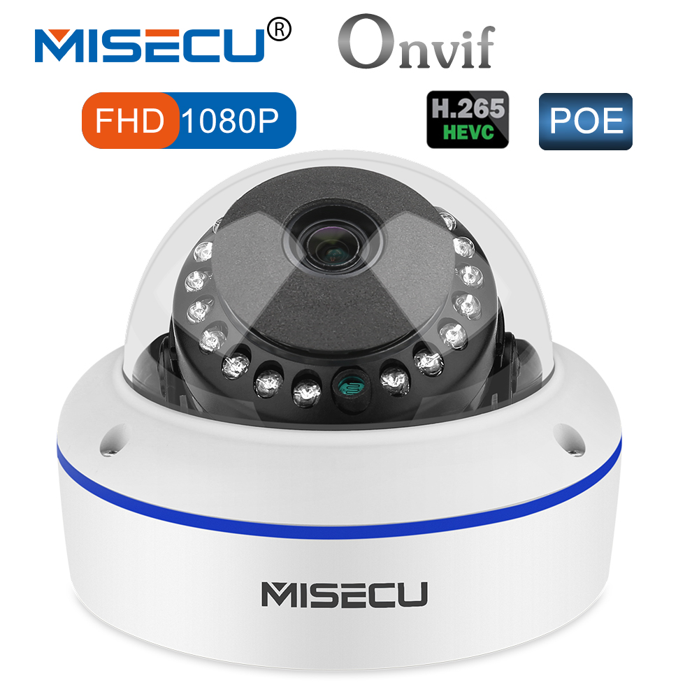 MISECU 48V POE H.265/H.264 Dome IP Camera 2.8mm Vandalproof 2.0MP Surveillance Video Camera Full HD ONVIF P2P Email Alert misecu 48v poe h 265 h 264 full hd 2 0mp 3 0mp 4 0mp ip camera hi3516d ov4689 outdoor wide dynamic motion onvif p2p night vision