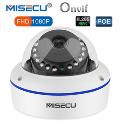 MISECU 48V POE H.265/H.264 Dome IP Camera 2.8mm Vandalproof 2.0MP Surveillance Video Camera Full HD ONVIF P2P Email Alert