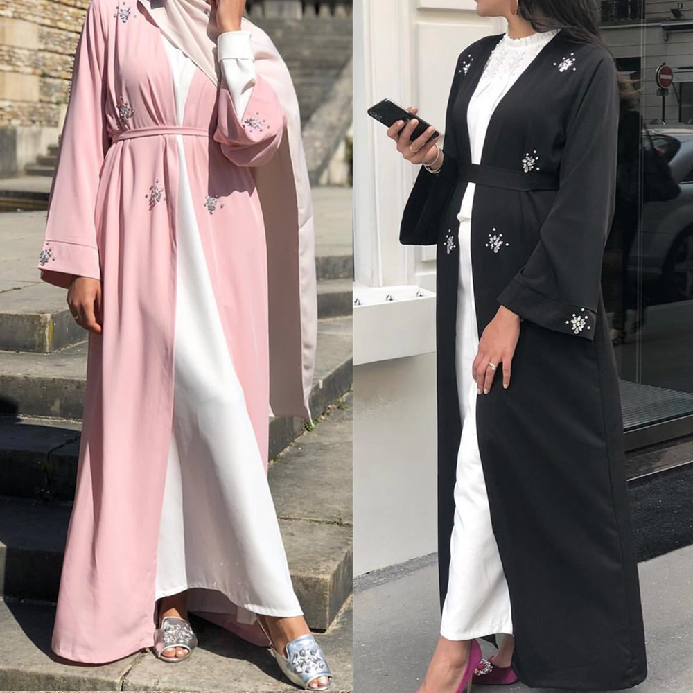 Muslim Abaya Diamonds Beading Cardigan Full Dress Kimono Long Robe Gowns Jubah Dubai Middle East Ramadan Arab Islamic Clothing