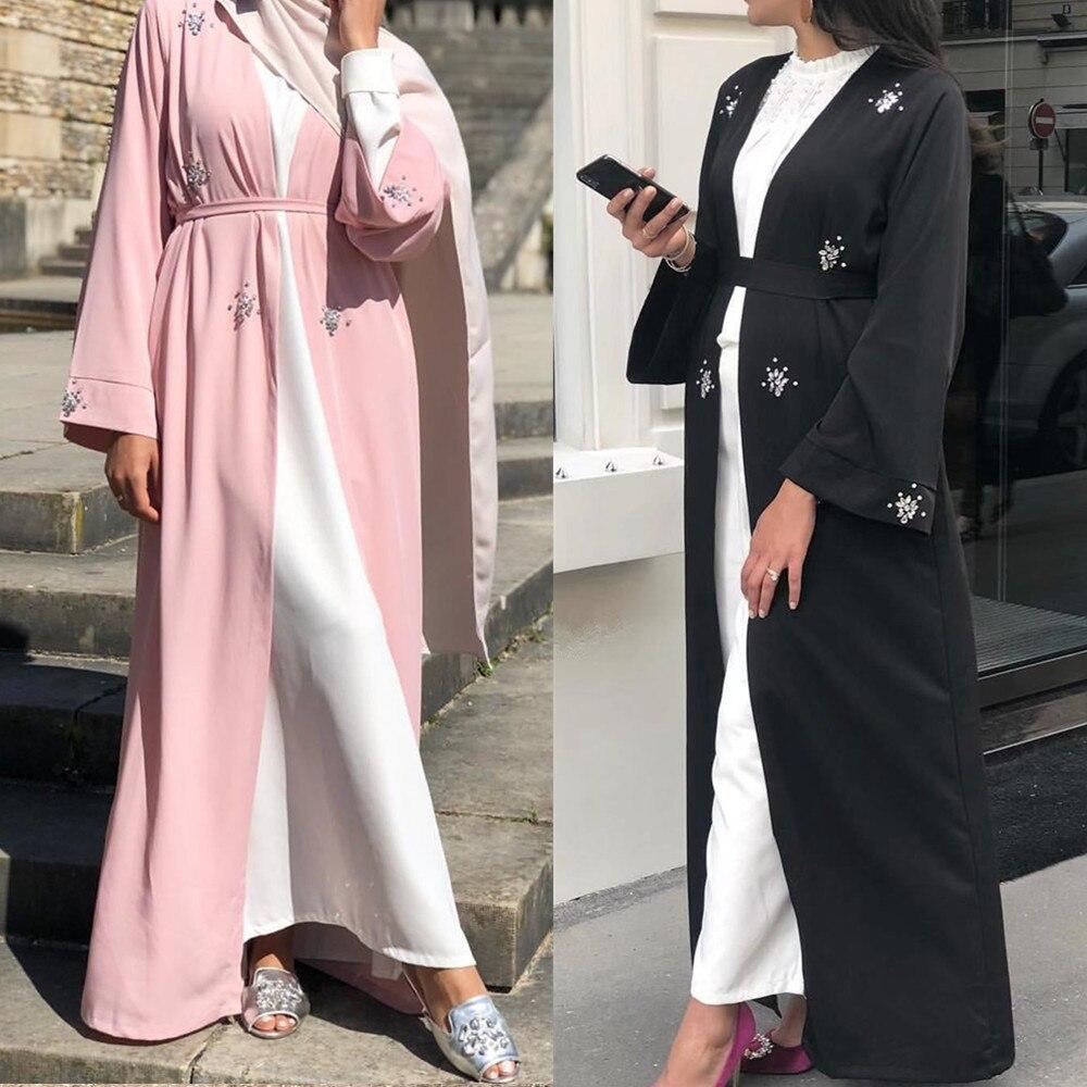 Muslim Abaya Diamonds Beading Cardigan Full Dress Kimono Long Robe Gowns Jubah Dubai Middle East Ramadan Arab Islamic Clothing