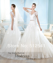 Noble Short Sleeves Lace Wedding Dresses 2014 A Line V Neck V Back Applique Organza Sweep Train yk8R131