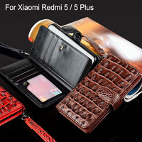 For Xiaomi Redmi 5 Plus Case Luxury Crocodile Snake Leather Flip Cover Card Slot Business Wallet