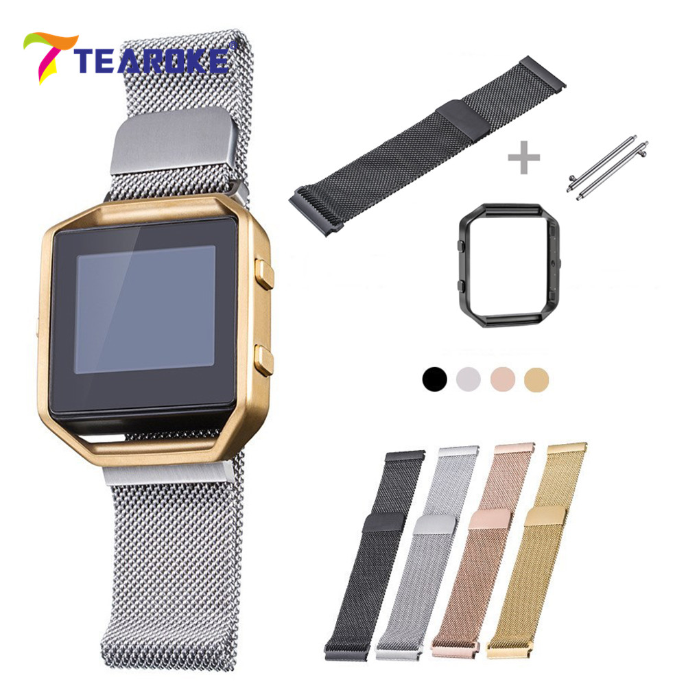 TEAROKE Milanese Magnetic Loop Watchband for Fitbit Blaze + Metal Frame Watch Band Strap Replacement Bracelet for Fitbit Black carlywet 23mm black 316l stainless steel replacement watch strap belt bracelet with case metal frame for fitbit blaze 23 watch