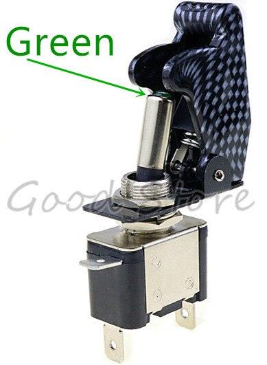 Авто автомобиль Лодка Грузовик с подсветкой светодиодный тумблер с безопасности самолета Флип-крышка охранника Красный Синий Зеленый Желтый Белый 12V20A - Цвет: LED green Carbon cap