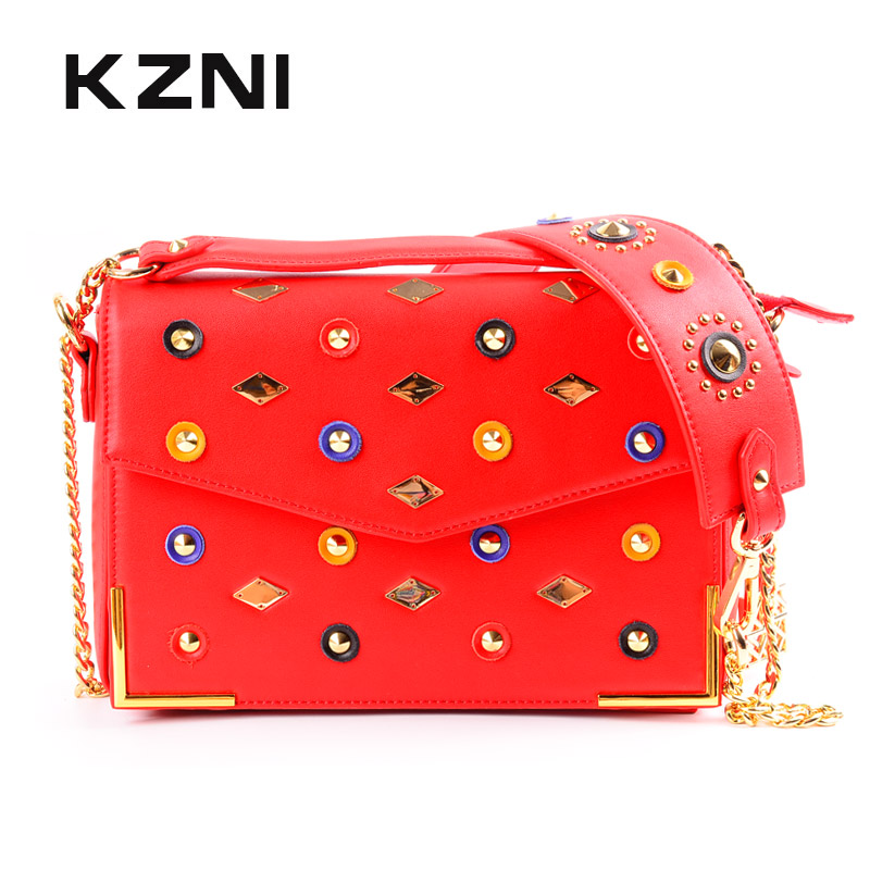 KZNI Genuine Leather Handbag Women Rivet Crossbody Bag with Chain Designer Handbags High Quality Ladies Sac a Main Femme 9121 kzni genuine leather cowhide clutch cross shoulder bags high quality rivet crossbody bag sac a main femme bolsos mujer 9062 9063