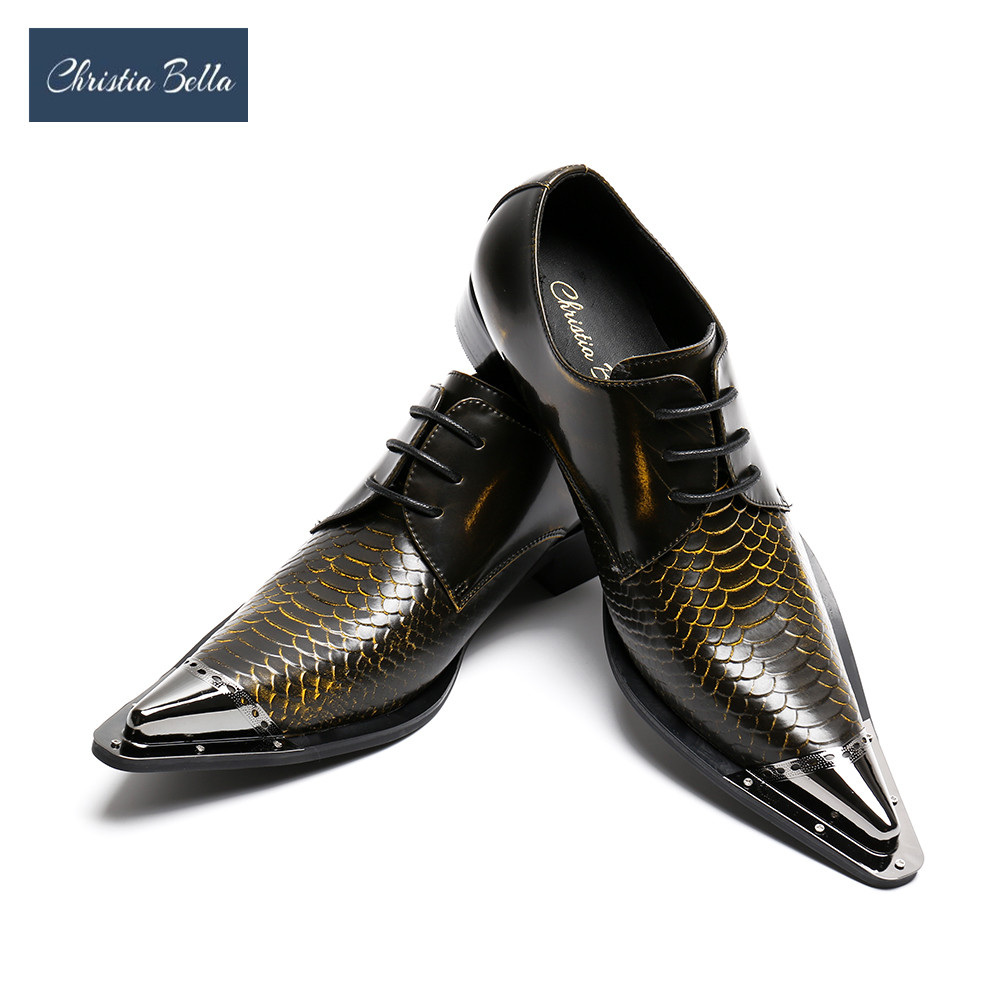 Christia Bella Handmade Pointed Toe Metal Tip Genuine Leather Men Dress Shoes Evening Party Wedding Shoes Hairdress Sexy Oxfords