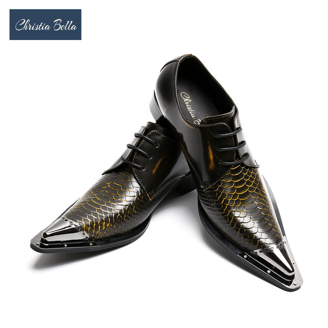 Christia Bella Handmade Pointed Toe Metal Tip Genuine Leather Men Dress  Shoes Evening Party Wedding Shoes Hairdress Sexy Oxfords 83c2fbf000ba