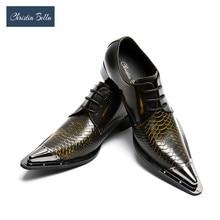 Christia bella artesanal dedo do pé apontado ponta de metal couro genuíno homens vestido sapatos festa de noite casamento sapatos hairdress sexy oxfords