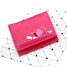 Women Wallets Small Fashion Brand Leather Purse Ladies Card Bag Cat Clutch Female Money Clip 367