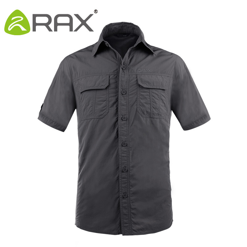 Rax Quick Dry Sports Shirt Men Men Outdoor Shirts Climbing Shirt Short Sleeve Camping Anti-UV Quick Dry Mens Outdoro Shirts