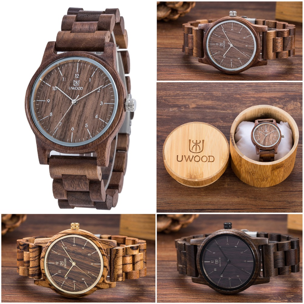 2019 Uwood Wooden Watches Wood Men`s Wristwatches Wooden Band Japan Move' 2035 Quartz Fashion Wood Watch Men Relogio Masculino