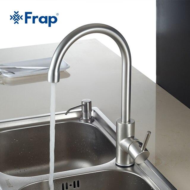 Frap Горячая и холодная вода Классический кухонный кран Пространство алюминия щеткой процесса поворотный Бассейна кран 360 градусов вращения F4052