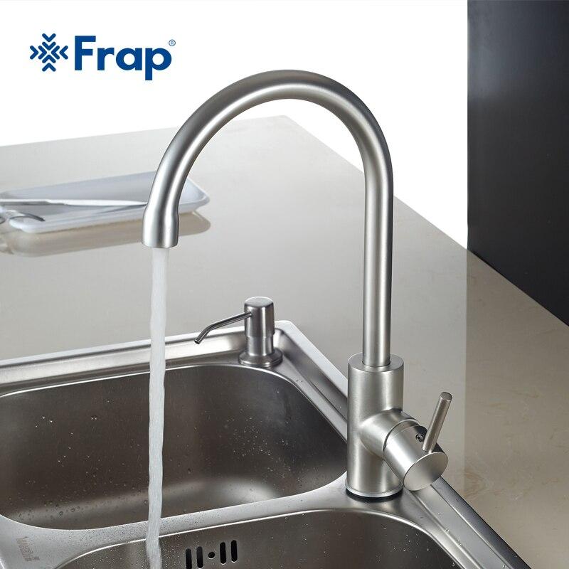 Frap Heiße und Kalte Wasser Klassische küche wasserhahn Raum Aluminium gebürstet prozess swivel wasserhahn 360 grad rotation F4052