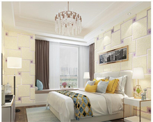 beibehang Simple modern non-woven 3D deerskin mosaic lattice European style living room bedroom wallpaper papel de parede
