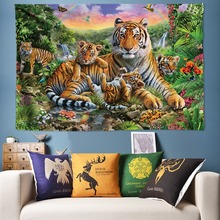 цены на 200*300cm Wild Tiger Tapestry Animal Wall Hanging Boho Decor Large Tapestries Wall Art Pictures for Living Room Kids Bed Sheets  в интернет-магазинах