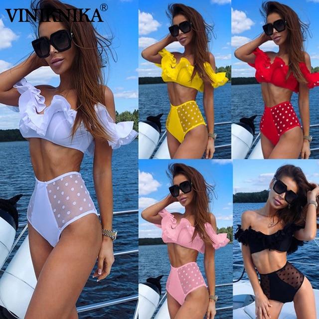 0cee99e93ab55 VINIKNIKA точка высокая Талия бикини с сеткой оборки купальный костюм пуш  ап сексуальный купальник бандо женский 2019