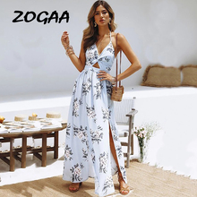ZOGAA Spaghetti Strap Bohemia Print Dress Women Summer New Chiffon Slit Sexy Beach Long Dress Backless Midriff-baring Dress sexy midriff baring tops