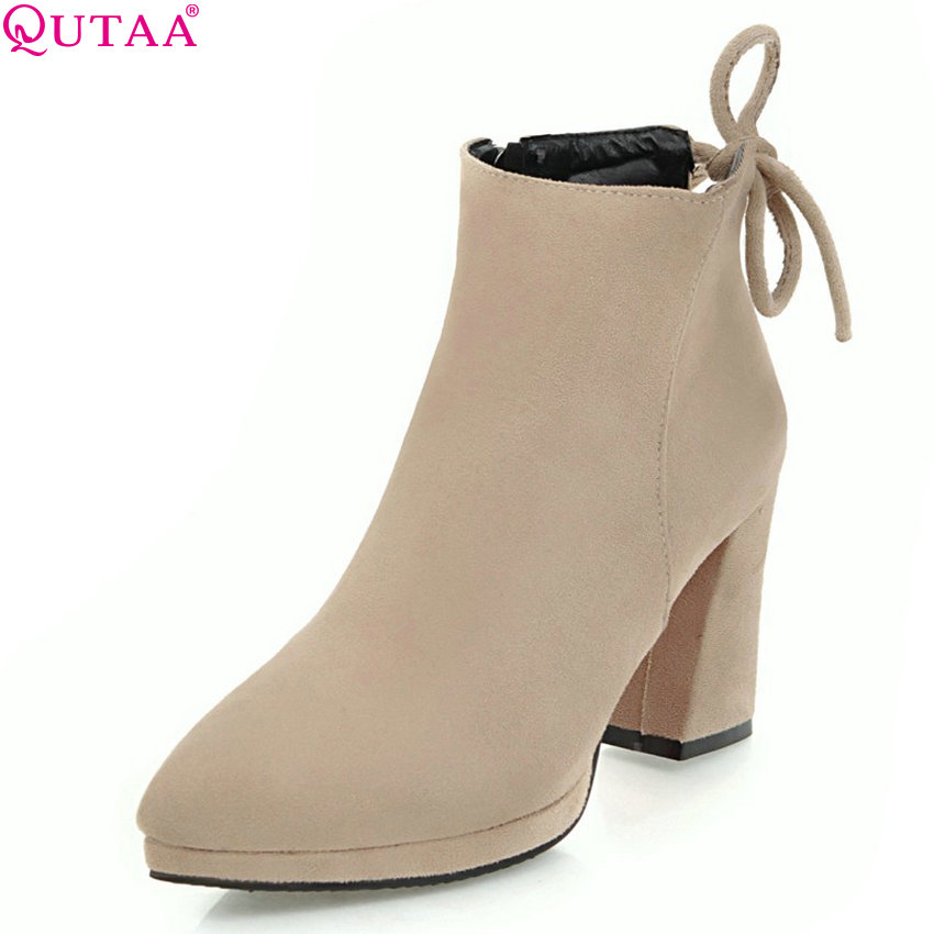 QUTAA 2018 New Women Ankle Boots Fashion Round Toe Zipper Square High Heel All Match Westrn Style Women Boots Size 33-43 qutaa 2018 high quality pu leather women ankle boots fashion square high heel zipper round toe all match women boots size 34 43