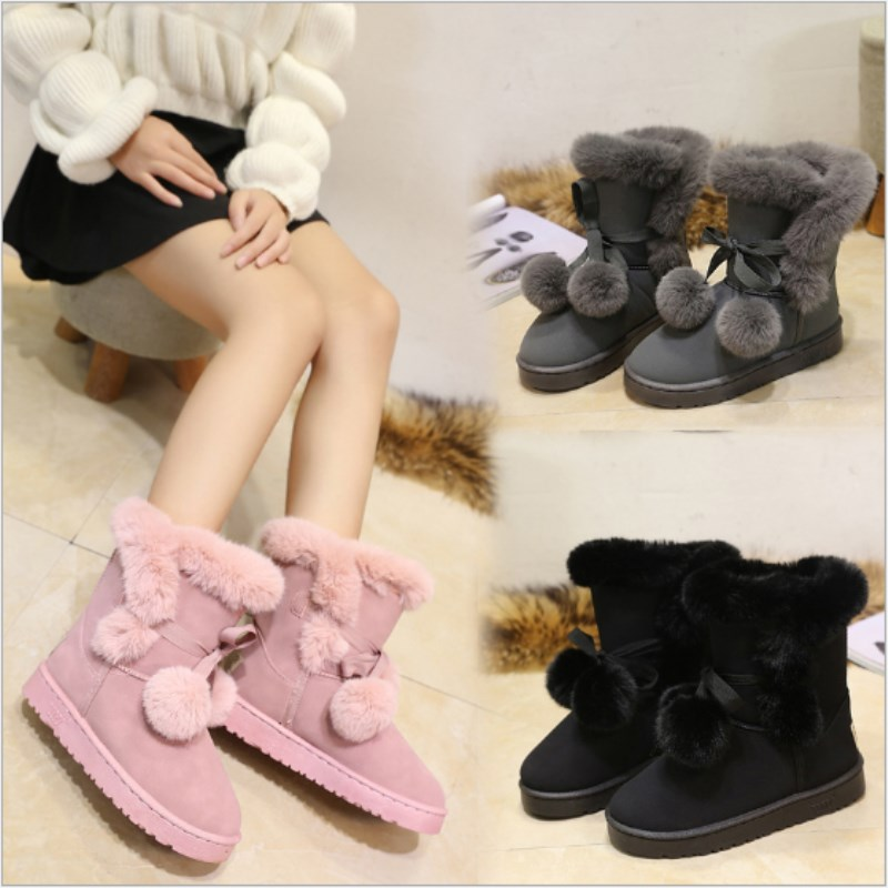 Woman Snow Boots 2019 Winter Women Ankle Boot Fashion Designer Plus Size Flat Booties Keep Warm Ladies Shoes Botas mujer in Ankle Boots from Shoes