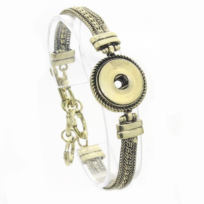 Ancient bronze Bracelet for women 18mm metal snap button armband stering jewelry bohemian carter love bracelet 040501